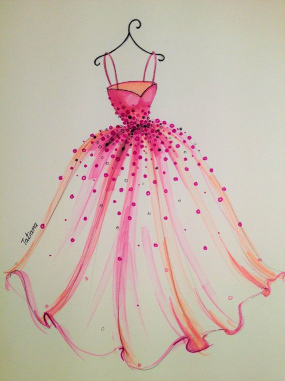 Clothing Design Ideas  Original Fashion Illustration The Pink Dress