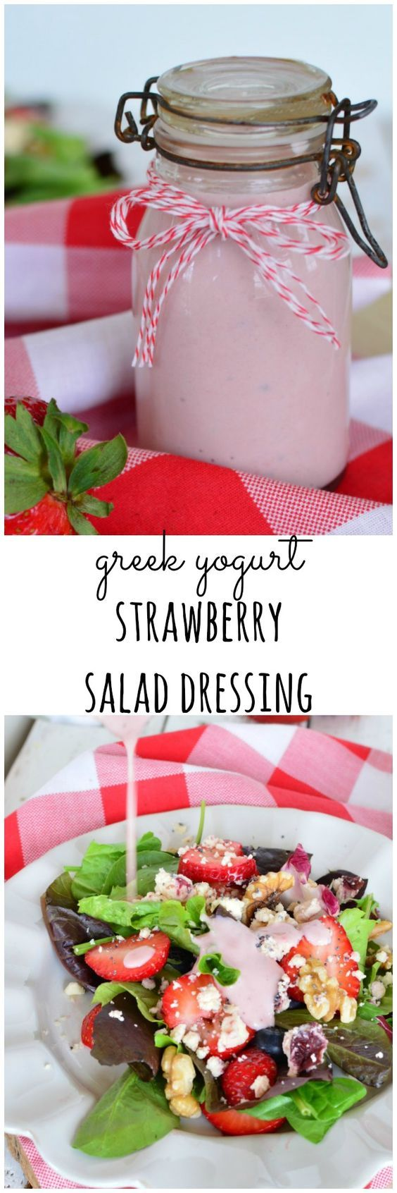 Greek Yogurt Stawberry Salad Dressing is a quick, easy, and healthy recipe. No more boring salads! www.littledairyontheprairie.com