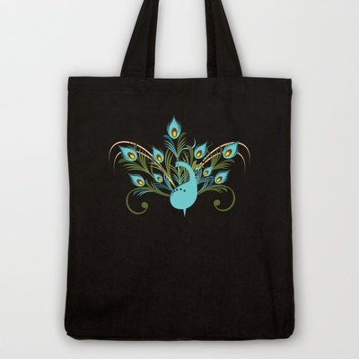 Just a Peacock Tote Bag by Ruxique - $18.00