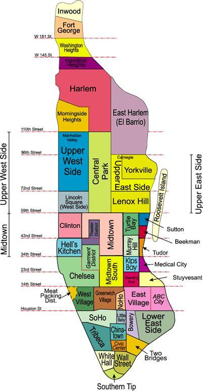 Barrios de Manhattan, Mapa