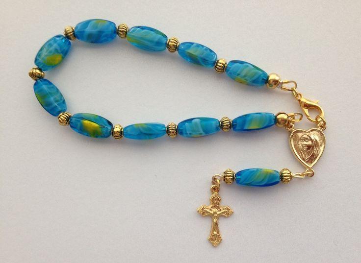Chaplet: Aqua Blue Lampwork Bead, Blue Chaplet, One Decade Catholic Chaplet, Gold Cross Chaplet by RosariestoCherish on Etsy