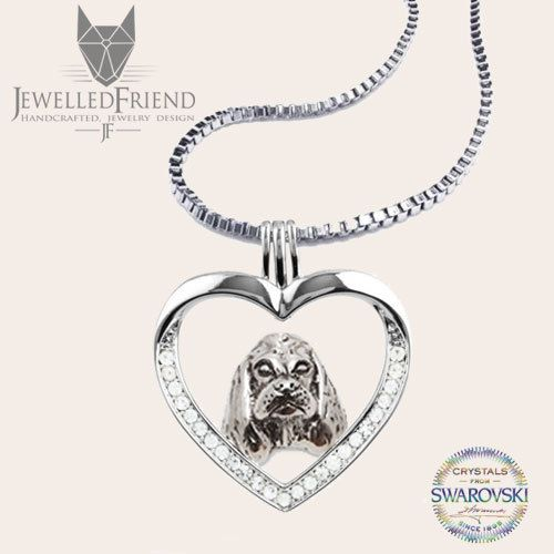American cocker spaniel jewelry necklace pendant with swarovski crystal- sterling silver - Custom Dog Necklace - Pet Memorial Gift-Dog Gift by jewelledfriend. Explore more products on http://jewelledfriend.etsy.com