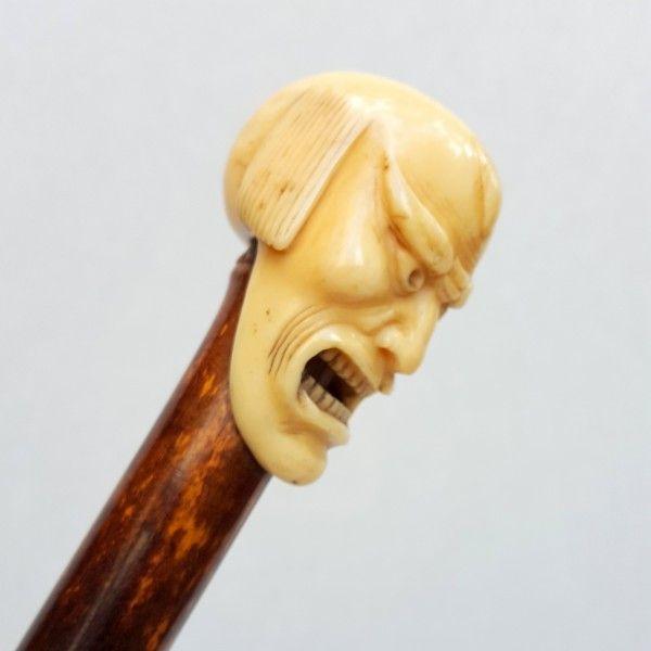 Canne japon, masque de théâtre Nô en ivoire