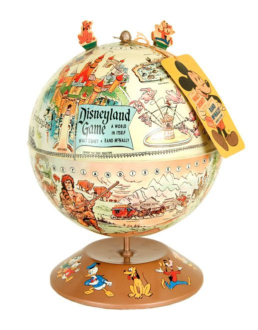 Disneyland Globe Game made by Rand McNally prior to Disneyland, it show's Disney's early vision for the park.