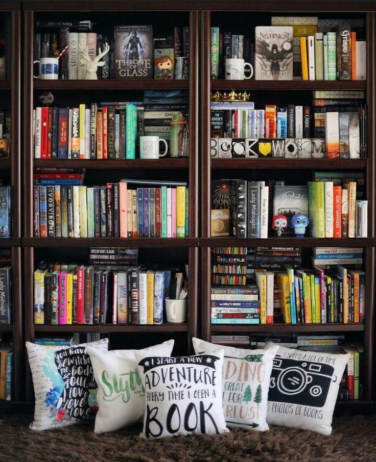 Bookshelves and awesome pillows!