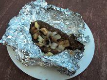 Grillowana kaszanka z pieczarkami i cebulą