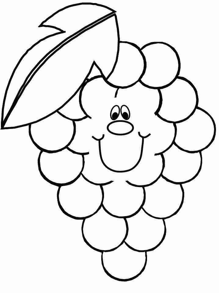 Grape fruit printable coloring pages for kids boys and girls