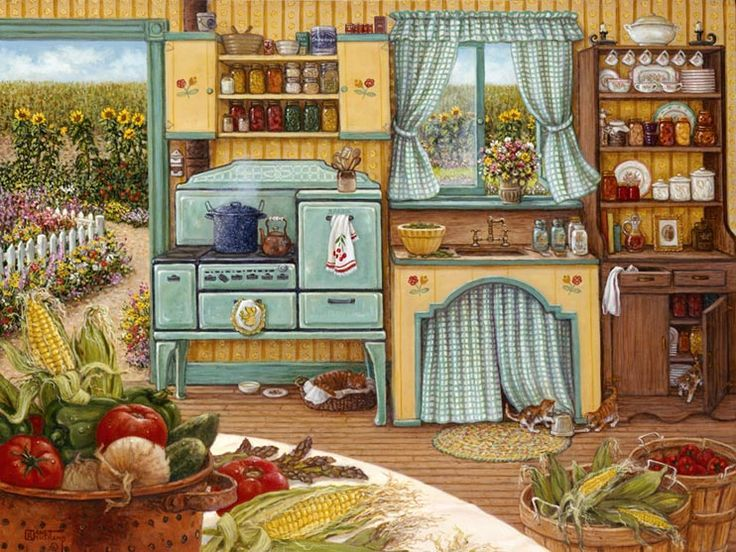 Canning Day, A Painting Of A Farm Kitchen Of The 1930u0027s Displays The  Harvest Of