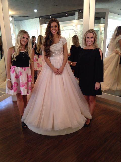 """Lindsey & Erin with Jessa right after she said """"Yes to the dress"""" at Tesori."""