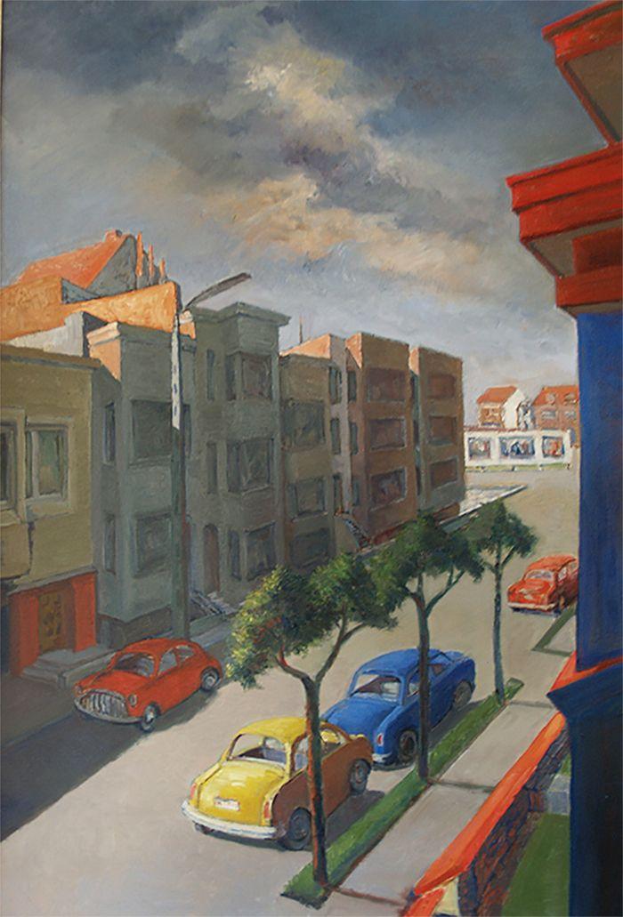 "View on a street in ""De panne"" (Belgium) around 1980 - oil on canvas"