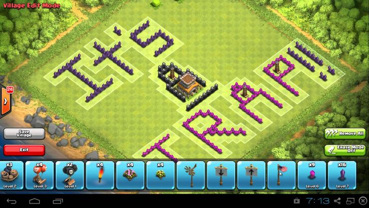 "cool Clash of Clans – Fun Pixel Art TH8 Base Design – ""It's A Trap!!"" I had the idea for this in my head for a few weeks now, so I decided I'll put it up before our clan's next war. I spend a lot of the video quoting...http://clashofclankings.com/clash-of-clans-fun-pixel-art-th8-base-design-its-a-trap/"