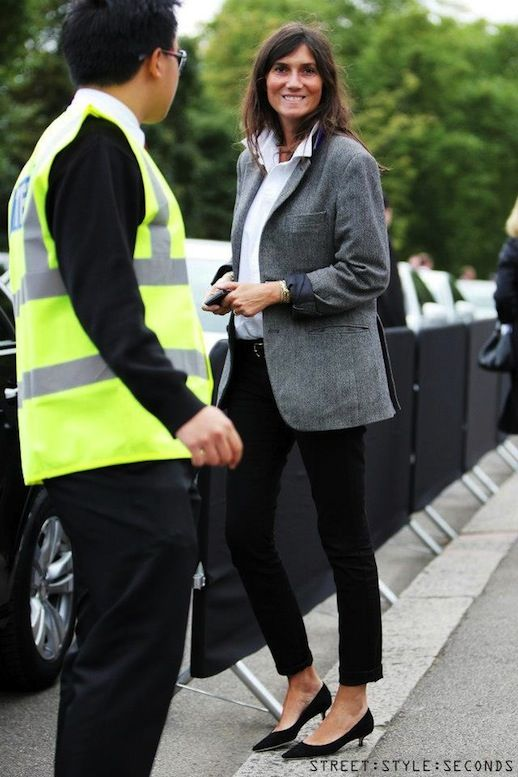Le Fashion Blog 11 Ways To Wear Kitten Heels Emmanuelle Alt Street Style Grey Jacket Via StreetStyle Seconds