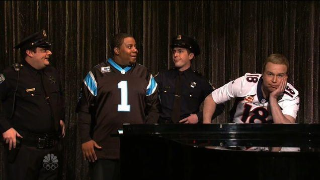 "SNL Lampoons Cam Newton & Peyton Manning's ""Ebony And Ivory"""