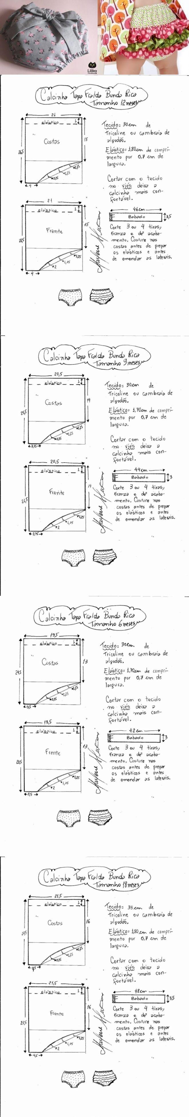 Выкройка трусиков с рюшами для малышки от 3 до 24 месяцев (Шитье и крой) | Журнал Вдохновение Рукодельницы