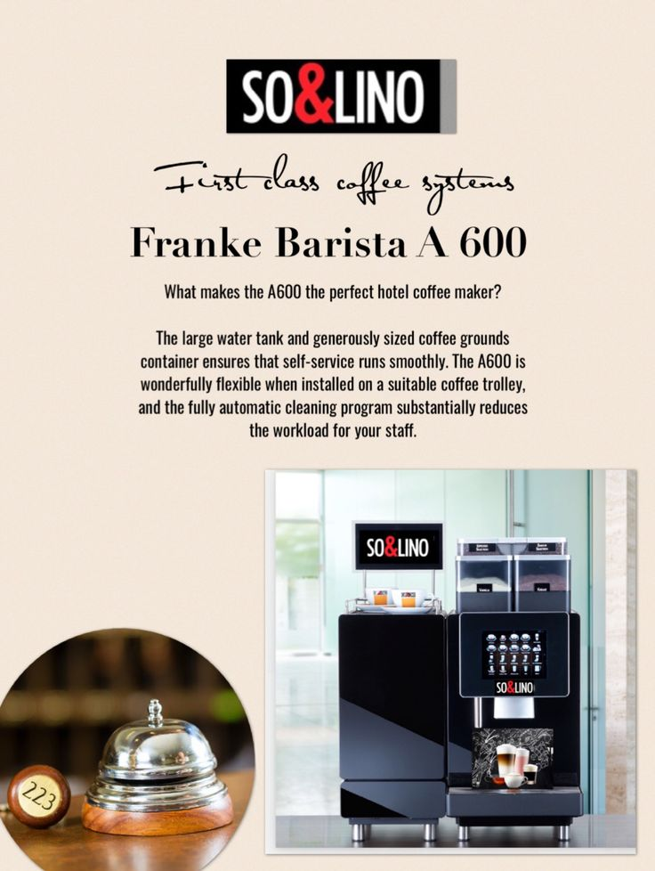 Perfect coffee enjoyment  Every Franke coffee machine is packed with true passion for coffee and 100 percent Swissness. Our product portfolio offers the ideal solution to meet any wish your customers may have. Fill your rooms with the enticing aroma of perfectly brewed coffee.