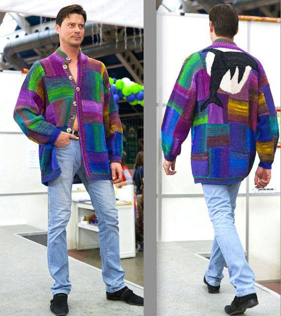 handmade knitted jacket DOLPHIN for men