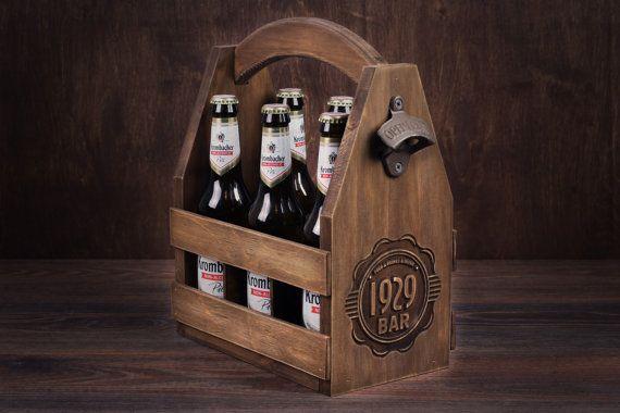 Wooden 6 pack Beer Caddy Beer Holder Beer Carrier by GoodWoodGift