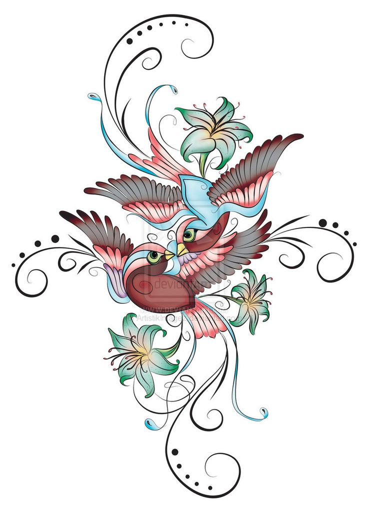I love this for a tattoo! I want to change it just a bit though. I only want the bottom sparrow, take away the black swirlies on the side and change the flowers to another kind (just not sure what yet)