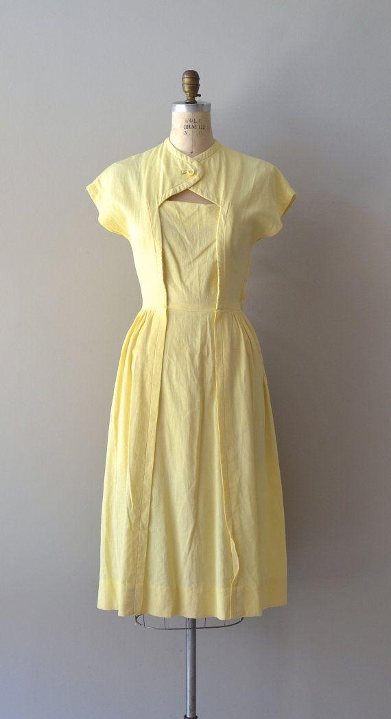vintage 1940s dress / cotton 40s dress / Cheerful by DearGolden, $132.00