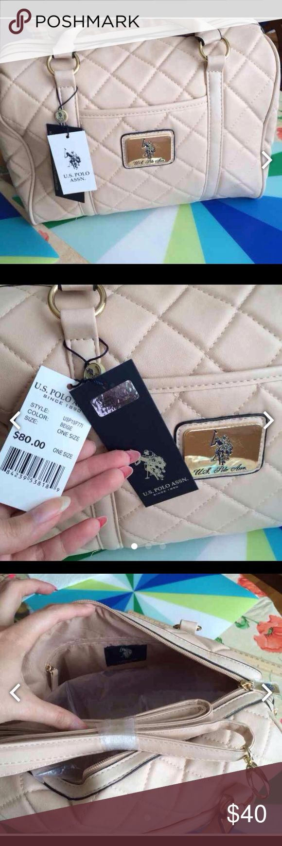 U.S.Polo assn handbag Beige to creamy color, has 3 pockets , a strap, new with tags, has a small stain which can be removed near the tag u.s.polo.assn Bags Shoulder Bags