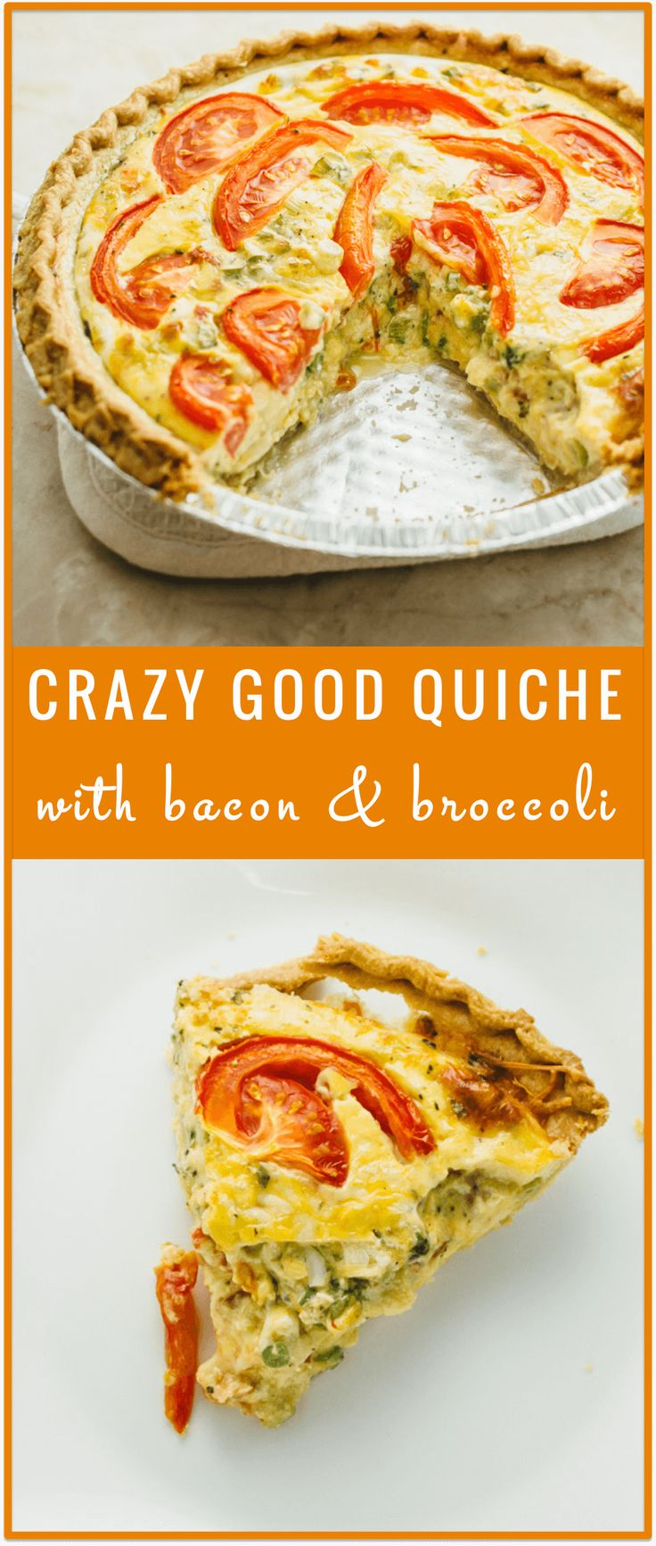 This is a crazy good quiche with crispy bacon, fresh scallions, tender broccoli, and tomato slices. You'll love this easy and delicious meal!