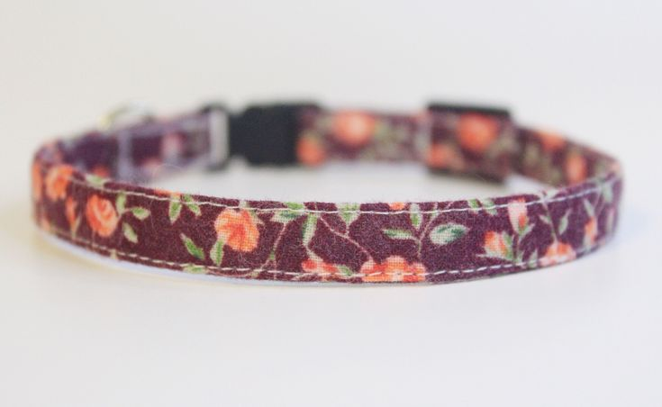 Beautiful handmade purple and pink floral cat collar by PurrsonalCreations on Etsy