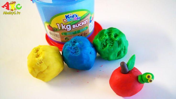 KidsDough Bucket unboxing and making Playdough Apple - AbabyC tv