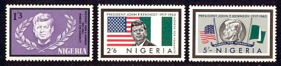 Nigeria, 1964 - John F. Kennedy Memorial Issue  -   Nigeria memorialized President John F. Kennedy with the release of this mint set of three stamps on August 20, 1964. The stamps feature (1) John F. Kennedy, U.S. and Nigerian flags; (2) Kennedy bust and laurel; and (3) Kennedy coin and the flags of the U.S. and Nigeria at half-mast.