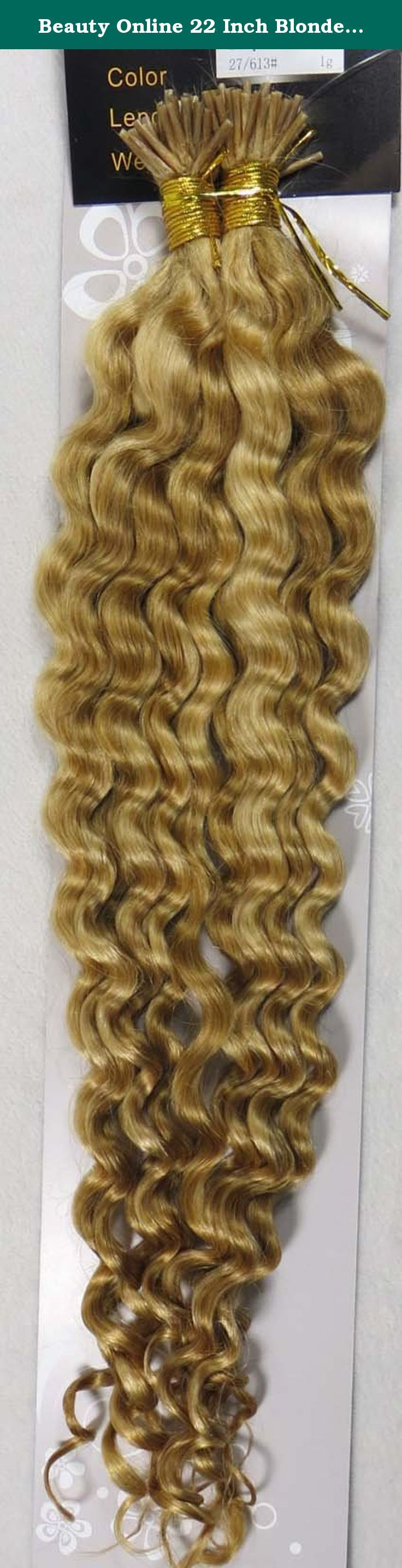 Beauty Online 22 Inch Blonde Highlight (#27/613) 100s Deep Wave Stick I Tip Fusion Human Hair Extensions - 100% Remy Human Hair Extensions. 100% remy human hair extensions and very competitive price. stick tip/I tip hair Can be washed, heat styled. High quality, tangle free, silky soft. 200-300strands are recommended for whole head. THERE ARE ANOTHER COLOURS AND SIZES CAN BE CHOSEN IN OUR SHOP.
