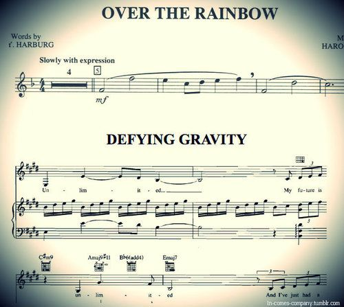"""Prepare to have your mind blown, if you didn't already know this. The first 8 notes of """"Somewhere Over the Rainbow"""" are what make up the main motif in Wicked."""