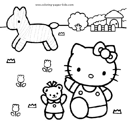 hello kitty on a farm coloring page