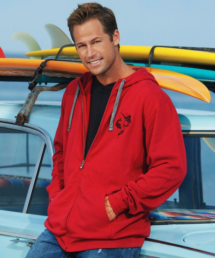 KJ Kai Sportfishing - Crimson Red Rib Panel Zip Hoodie