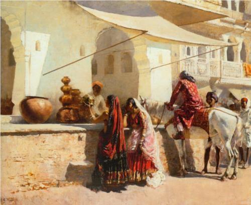 A Street Market Scene, India - Edwin Lord Weeks