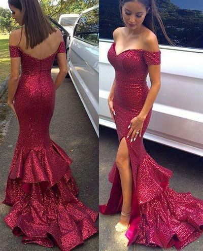 Fishtail prom dress,Off the Shoulder Sexy Mermaid Prom Dresses,Long Evening Dresses