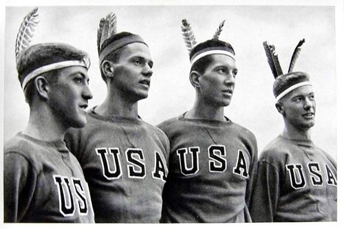1936 Berlin Olympics Photograph - American Athletes in Indian Headdress.