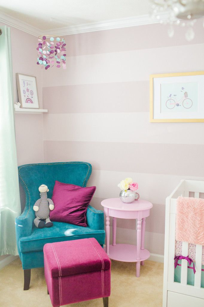 Beautifully-styled nursery with pops of #coolberry that we can't get enough of! #BRITAXStyle: Purple Nurseries, Purple Baby Room, Purple Teal Baby Room, Baby Rooms Purple, Wall Color, Kidsrooms Crafts, Girl Rooms, Color Combination, Teal Baby Nurseries