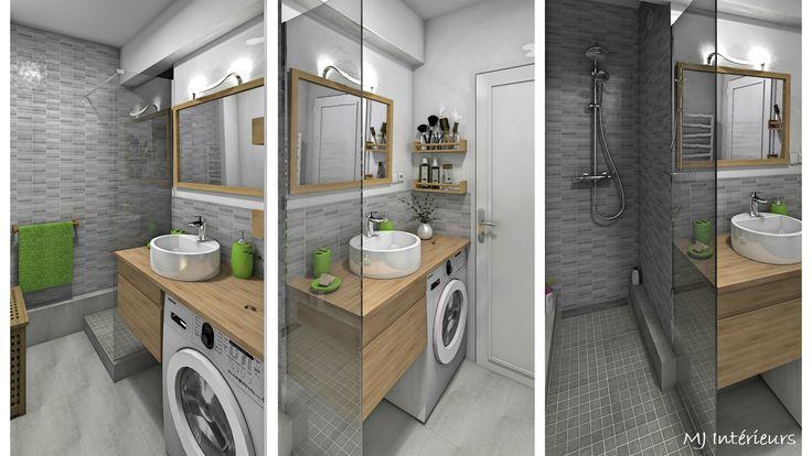 Studio vue mer Royan - la salle d'eau modernisée et optimisée avec lave-linge compact (faible profondeur). Ambiance zen et épurée en nuances de gris, bois clair et blanc (+ quelques touches de vert pomme)