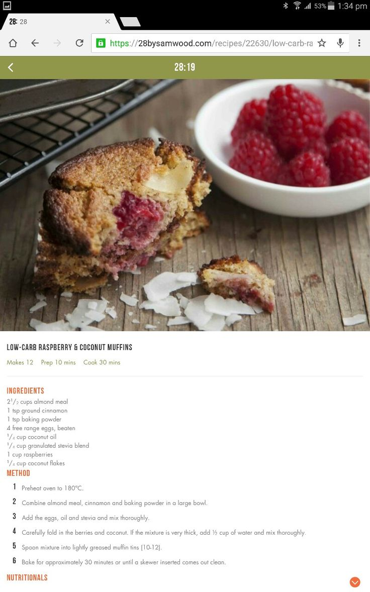 Low carb raspberry and coconut muffins