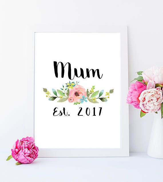 Mum Mummy Baby Mama Mama Mom Established 2017 Pink Flower Print Home Decor Mothers Day Gift Mother Day Gifts Mother Gifts Mothers Day Crafts