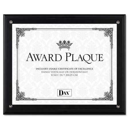 DAX Award Plaque, Wood/Acrylic Frame, Fits up to 8-1/2 inch x 11 inch, Black