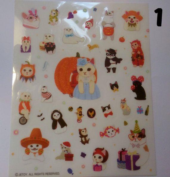 Kawaii Cat Stickers Cute Costumes Halloween by PumpkinParcel