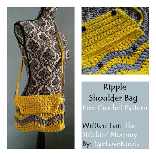 Ripple Shoulder Bag - Free Crochet Pattern by EyeLoveKnots for The Stitchin' Mommy | http://www.thestitchinmommy.com