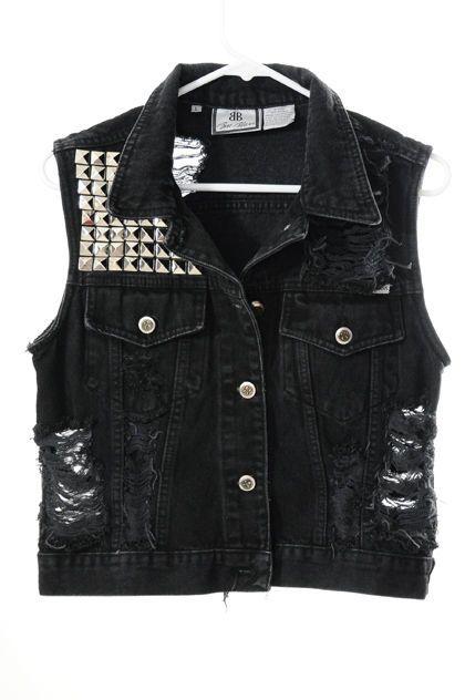 black denim vest