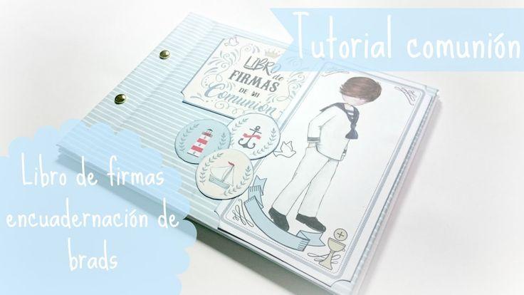 Libro de firmas para comunión encuadernado con brads #scrapbook #manualidades #diy #handmade