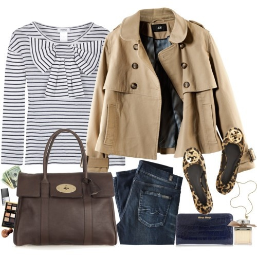 Stripes, bow, trench, leopard flats, satchel, dark jeans - LOVE: Fashion, Style, Tory Burch, Burch Flats, Fall Outfit, Fall Winter