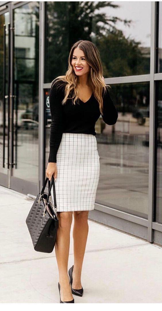 I like the plaid pencil skirt
