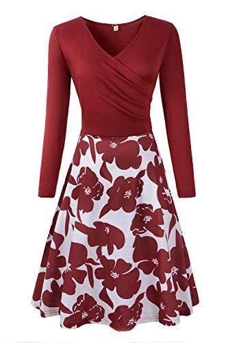 d8d00a9622b1b7 Genhoo Damen Casual Kleid A-Linie Sommerkleider Kurzarm/Langarm V-Ausschnitt  Wickelkleid Vintage