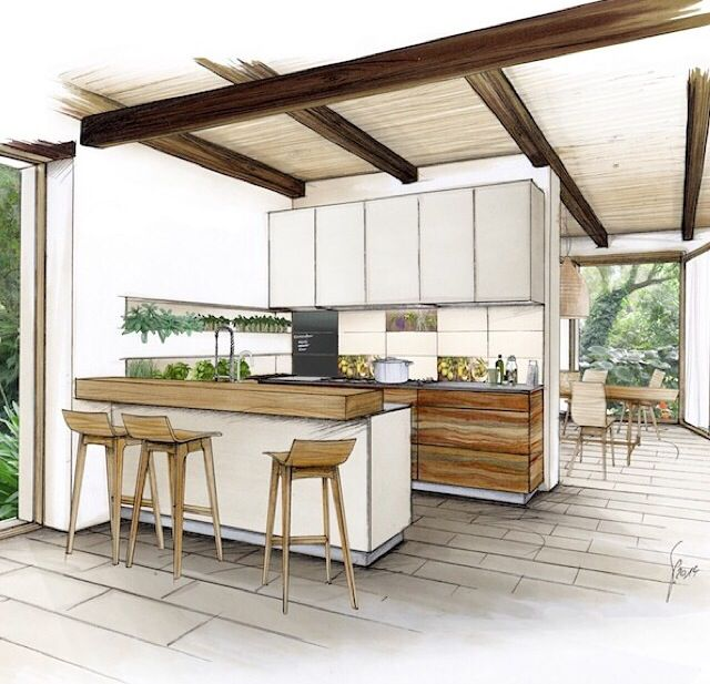 Kitchen sketch. Interior Design SketchesDrawing InteriorInterior  RenderingMarker DrawingsSketch MarkersArchitecture ...
