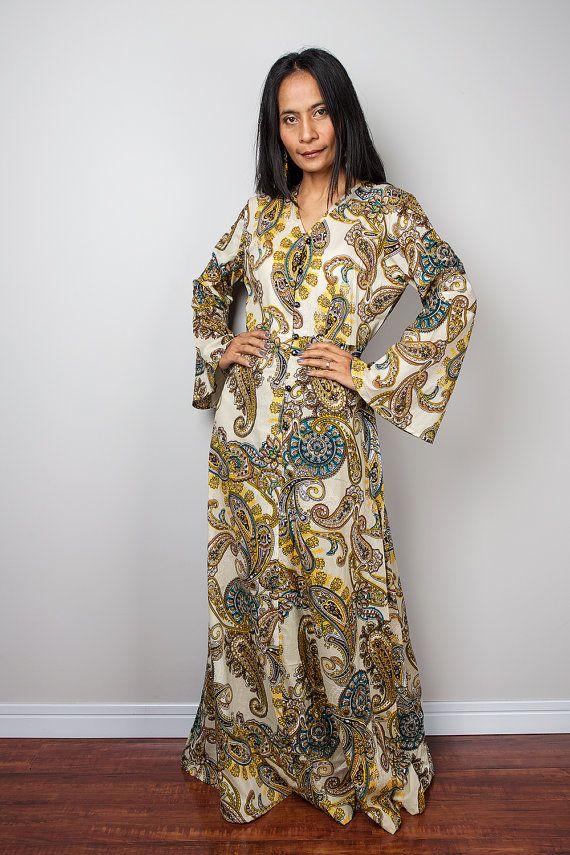 Paisley Dress / Boho Dress / Modest Long Maxi Dress with Paisley ...