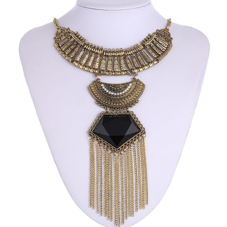 Fashion Multi Layer Maxi Necklace Fine Jewelry Big Gem Statement Vintage Necklaces & Pendants Chain Tassel Boho Necklace Women